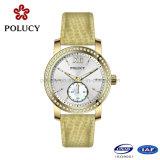 Relógio de pedra magro das senhoras do ouro do OEM Rosa da fábrica para mulheres