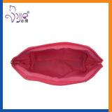 Rosafarbene seidige Satin-Klassiker-Multifunktionsreißverschluss-Kosmetik-Beutel