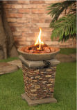 Ciotola di fuoco esterna del pozzo del fuoco di gas del propano con i disegni di pietra naturali del pozzo del fuoco