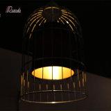 Diseño Lámpara colgante de metal industrial con Birdcage Acabado Negro