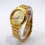 Orologio del braccialetto placcato migliore oro dell'acciaio inossidabile per l'uomo e la donna