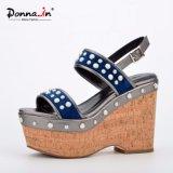 Frauen-Korken-hohe Plattform-Schuhe der Dame-Jewel Velvet Patchwork Leather