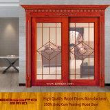 Porte d'entrée coulissante en bois décoratif en bois de style classique (GSP3-017)