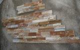 Pietra gialla naturale cinese dell'ardesia della coltura P014 per il rivestimento della parete