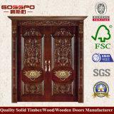 Portello di entrata di legno del doppio foglio della villa (GSP1-005)