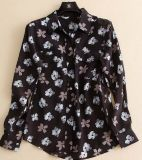 Gedrucktes schwarze Frauen-Maulbeere-Seide-Hemd