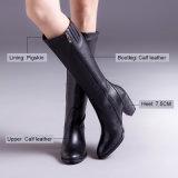 (Donna-в) полные ботинки женщин застежки -молнии высокой пятки квадрата кожи икры
