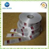 Escritura de la etiqueta de cuidado impresa cosida personalizada del satén para la ropa (JP-CL043)