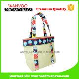 Umweltfreundliche Leinenfrauen-Handtasche mit Drucken