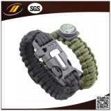 Bracelete militar da sobrevivência de Paracord do núcleo da curvatura 7 do aço inoxidável de esportes ao ar livre