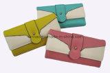 Il colore di contrasto/bello raccoglitore di cuoio dell'unità di elaborazione/ha progettato la signora Triplice-Piegata Wallet