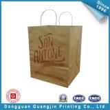 平らなハンドル(GJ-bag154)が付いているブラウンクラフト紙のショッピング・バッグ