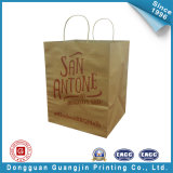 Papier Kraft Brown Bag Panier avec poignée Flat (GJ-bag154)