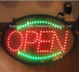 Sinal aberto do diodo emissor de luz do destaque e sinal do costume