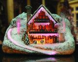 Weihnachtsschnee-Dorf-Faser-Optiklit-Haus-Weihnachtsdekoration