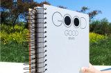 2016 caderno de couro customizável de venda quente, preto espiral do caderno da escola