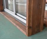 Guichet de glissement en aluminium de profil d'interruption thermique de qualité avec le blocage multi et le bâti en bois réel Kz274