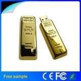Lecteur flash USB réel en gros de barre d'or en métal de la capacité 8GB