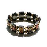 Hämatit-Rosenbeet-Armband mit Heilig-Abbildung