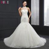 Vestido de casamento Backless da sereia da garganta elevada (Q-030)