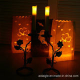 Decoration를 위한 노란 Flameless Candle Holder Metal Pillar