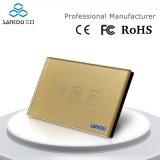 Sankou 110V250V 50Hz60Hz私達Black Panel Wall Light Touch SwitchのStandard 3gang2way