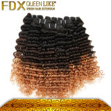 Maschinell hergestelltes Menschenhaar peruanische lockige Ombre Haar-einschlagextensionen