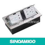 Pop doppio in su Socket Stainless Double Row Floor Box