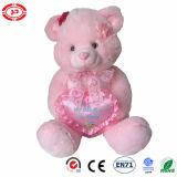 Ours bourré par rose avec le nounours mou de peluche mignonne d'accessoires de coeur