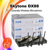 Microfono tenuto in mano doppio della radio di frequenza ultraelevata di vera diversità di Dx-88 Skytone