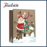 光沢のある薄板にされたアートペーパーの父のクリスマスのショッピングギフトの紙袋