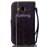 Cubierta/caja del teléfono móvil del cuero del estilo de la carpeta para Samsung G3608/G5308/Note 5/P8/S3/S4/S5/S6, con la cuerda