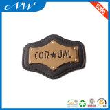 Большинств популярный кожаный ярлык выбитой кожи заплаты с металлом