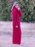 Платье свитера кардигана кабеля Knit руки OEM с клобуком