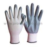 13G白いポリエステル灰色のニトリルやしによって塗られる作業手袋
