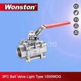 Válvula de esfera da alta qualidade 3PC com tipo 1000wog da luz do fechamento