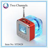Disco micro FM Tt028 negro del USB del mini del altavoz del LCD jugador de alta fidelidad cristalino portable SD/TF de la música MP3/4