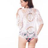 Le coton le plus neuf de dames tissé et chemisier de crochet de lacet (BL-257)