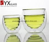 ホウケイ酸塩の耐熱性ガラス飲むマグか二重壁の層ガラスのコップ