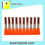 4 outils de coupeur de fraisage combiné de carbure de tungstène de cannelures
