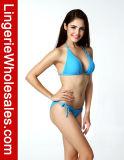 Reizvoller Bikini-blaue Normallack-Dreieck-Oberseitehalter-Zeichenkette-Badebekleidung