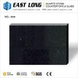 Superfície Sparkling preta da pedra de quartzo do espelho com amostras livres
