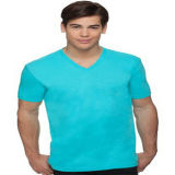 Penteado Algodão Mens Short Sleeve V Neck T-Shirt