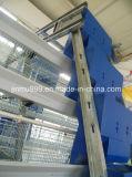 As aves domésticas automáticas mergulham a gaiola de alimentação do equipamento dos pássaros da galinha