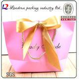 ブラウンクラフトプリントペーパーショッピングギフト手の昇進の上塗を施してあるアートペーパーのキャリアの綿のナイロンロープ(F60)が付いている装飾的な宝石類のパッキング袋