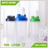 bottiglia di plastica dell'agitatore della proteina 600ml con la sfera dell'acciaio inossidabile