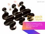 Pelo humano brasileño del color el 100% del negro de la onda de la carrocería del pelo de la Virgen del pelo de la dicha