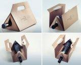 Contenitore impaccante di carta dorato portatile di vino