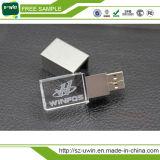 De nieuwe Aandrijving van de Flits van het Kristal USB van de Aankomst met LEIDEN Embleem