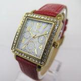 Horloge van de Riem van het Leer Diamante van vrouwen het Charmante